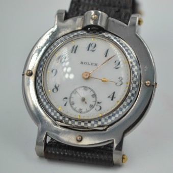 SOLD:Rolex Watch Unique Niello original Rebberg solid silver with gold decor C.1900