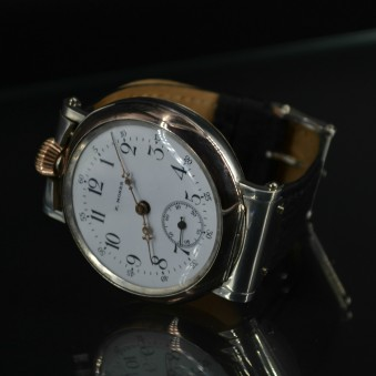 Paul Moser Swiss made hallmarked high grade 23 ruby solid silver military trench WW1 army officers wrist watch
