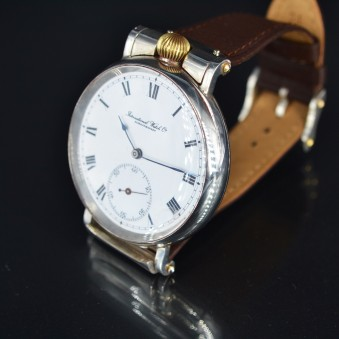 IWC International Watch Co solid silver chronometer antique WW1 military large