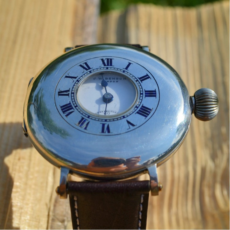 J.W. Benson solid silver wrist watch demi hunter military trench