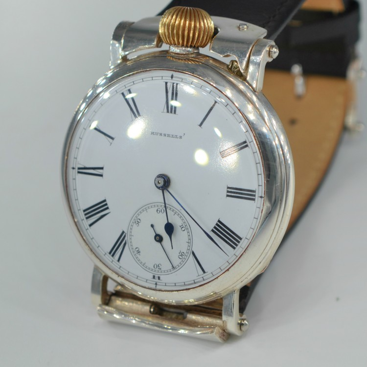 SOLD: Russell Longines High Grade Silver Men's Wrist Watch 1880 Military WW1, 2 Trench Vintage