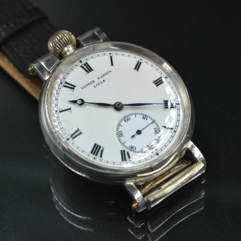Ulysse Nardin mechanical 1914 antique wristwatch silver WW1 trench watch