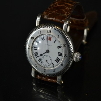 SOLD 42 mm Rolex bubble back niello vintage men's watch antique military WW1 trench