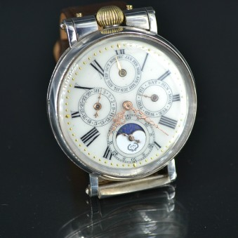SOLD:Omega Jura Perpetual Calendar Moonphase silver WW1 antique swiss men wristwatch