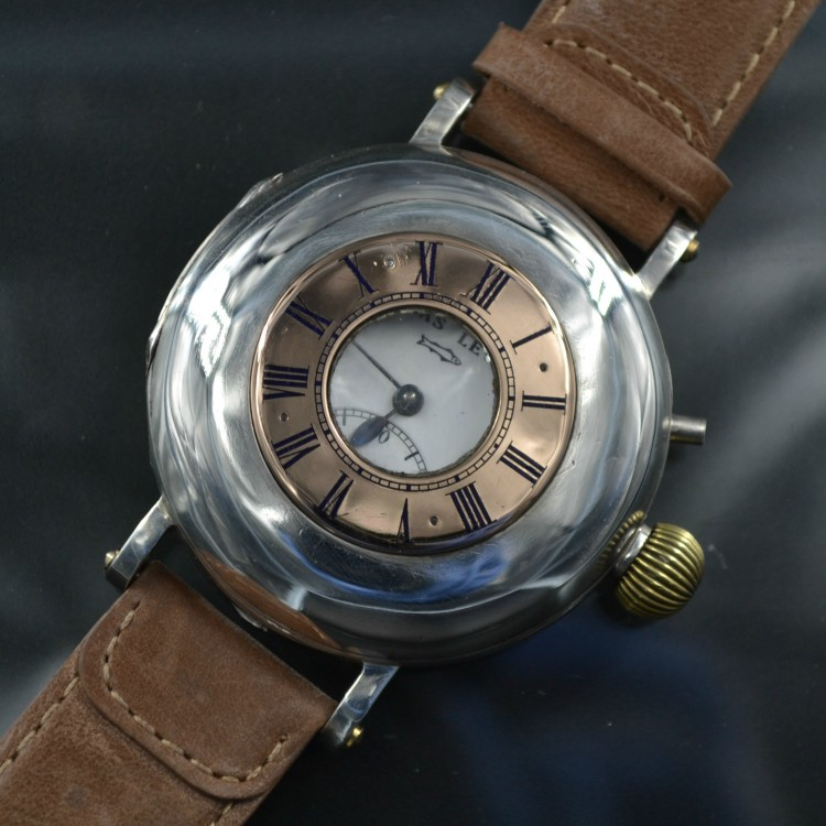 SOLD:Agassiz Atlas 48mm High grade chatones movement silver half hunter WW1 military army antique swiss men wrist watch