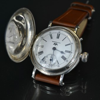 SOLD Longines Billodes high grade wolf tooth full hunter 49mm solid silver WW1 military antique Swiss men's watch