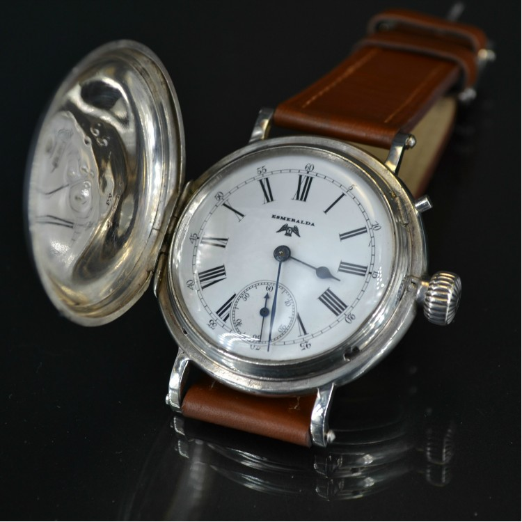 Longines Billodes high grade wolf tooth full hunter 49mm solid silver WW1 military antique Swiss men's watch