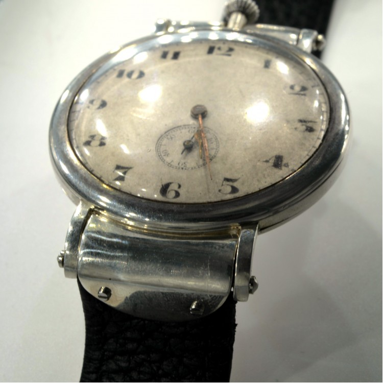 Marvin antique wrist watch military Swiss trench WW1 sterling silver GS case 1.8""