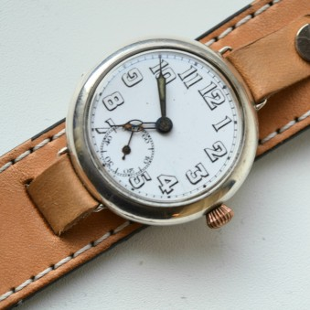 Silver officers trench wristwatch Dimier Freres et Cie