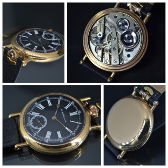 Hallmarked Henry Moser Mint Antique Wristwatch with military dial gold filed case sapphire in winding crown