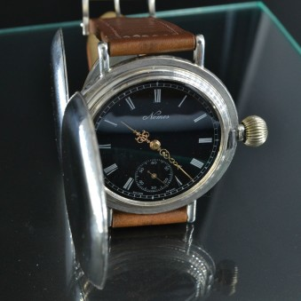 Glashutte Nomos original huge hunter military pocket convert to trench officers WW1 wrist watch solid silver high grade