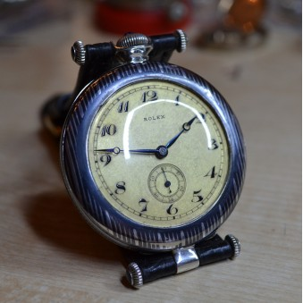 Antique Rolex Wilsdorf Unique Nice Silver Niello Perfect Condition Mens Wrist Watch