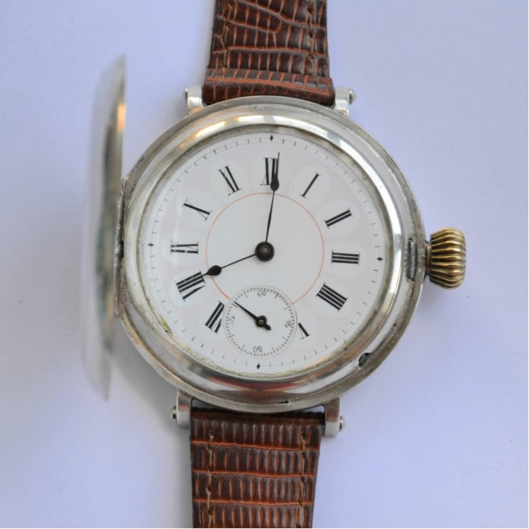 Sold: Aeby & Landry original swiss silver wrist antique military trench watch
