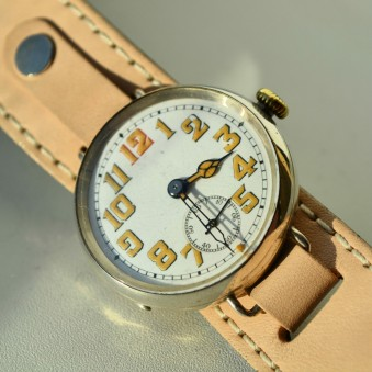 SOLD: Adolf Schild military antique trench watch sterling silver 33 mm